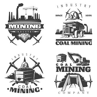 Conjunto de designs de logotipo de mineração