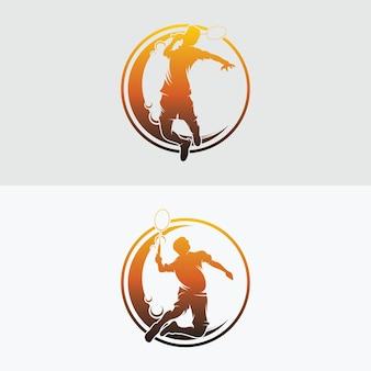 Conjunto de designs de logotipo do badminton smash