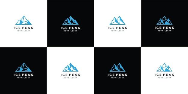 Conjunto de designs de logotipo pico de gelo rocha montanha aventura montanha pico de gelo geométrico