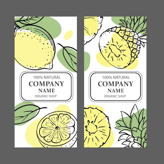 Conjunto de designs de loja orgânica com ilustrações de esboços de frutas