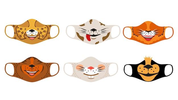 Conjunto de designs de máscaras engraçadas reutilizáveis de boca infantil com rostos de animais