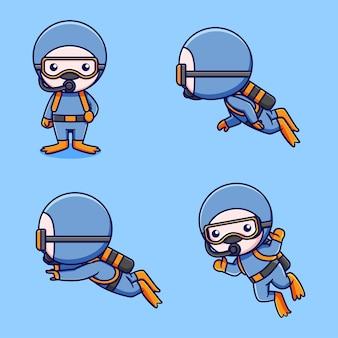 Conjunto de designs de mergulhadores fofos