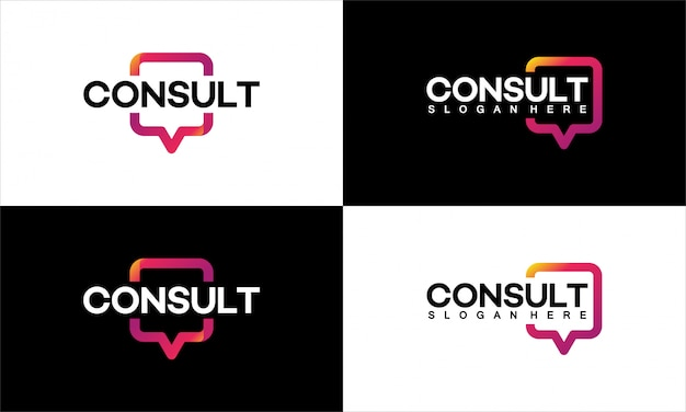 Conjunto de designs de modelo de logotipo da modern gradient consulting agency