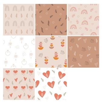 Conjunto de designs de padrão boho em tons pastel.