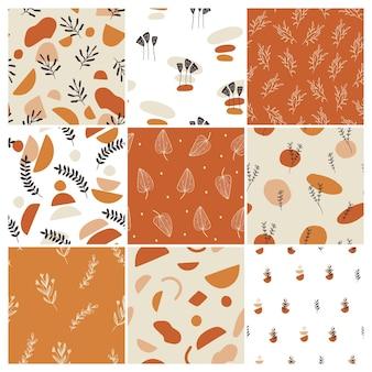 Conjunto de designs de padrão com elementos florais e formas abstratas.