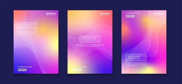 Conjunto de designs de panfleto de capa de livro abstrato gradiente borrado