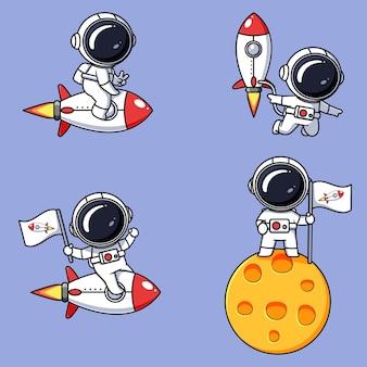 Conjunto de designs fofos de astronautas