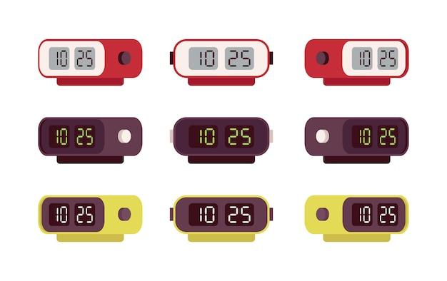 Conjunto de despertadores digitais retrô