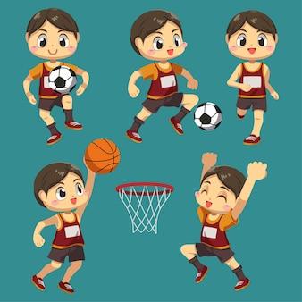 Conjunto de desportista com basquete e futebol com troféu em personagem de desenho animado, ilustração plana de diferença ação isolada