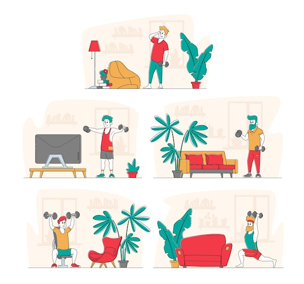 Conjunto de desportistas exercitando-se com o conceito de halteres