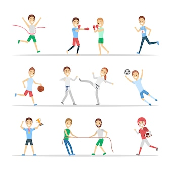 Conjunto de desportistas. pessoas praticando esportes diferentes: jogar basquete, boxe, correr e vencer a competição. ilustração vetorial plana