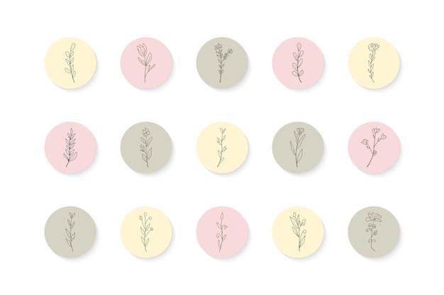 Conjunto de destaques de histórias florais desenhadas à mão no instagram
