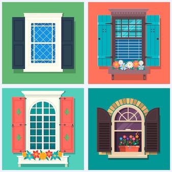 Conjunto de detalhadas várias janelas coloridas