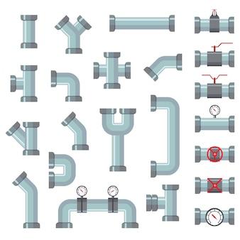 Conjunto de detalhes de tubos de tubos de água diferentes.