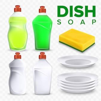 Conjunto de detergente e esponja para lavar louça