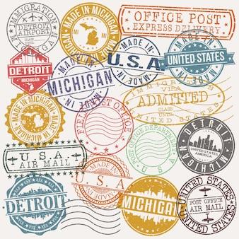 Conjunto de detroit michigan de viagens e negócios stamp desenhos