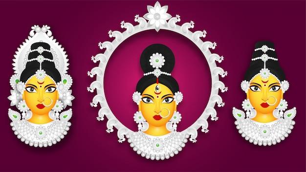 Conjunto de deusa durga rosto em estilo diferente