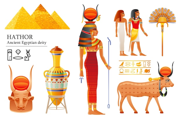 Conjunto de deusa egípcia hathor, divindade do céu com sol, chifres de vaca. deus egípcio antigo.