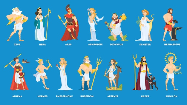 Conjunto de deuses e deusa gregos olímpicos. hermes e artemis, poseidon e demeter. ilustração em vetor plana