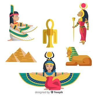 Conjunto de deuses e símbolos do egito