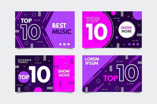 Conjunto de dez banners de classificação