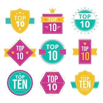 Conjunto de dez emblemas principais