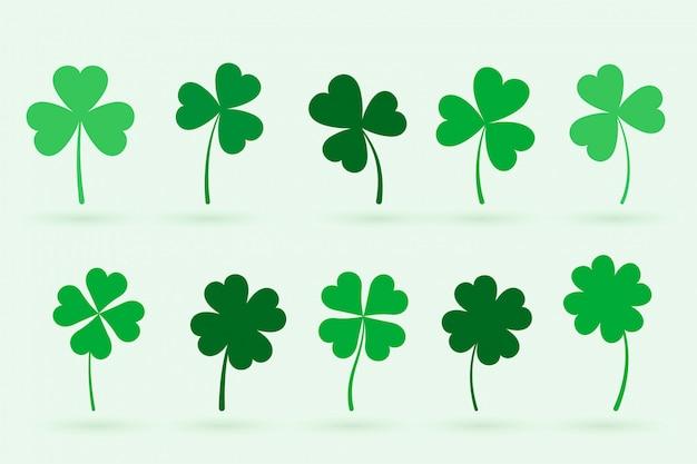 Conjunto de dez folhas de trevo em estilo simples