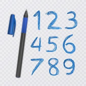 Conjunto de dez números de um a nove, números desenhados com caneta azul