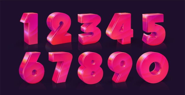 Conjunto de dez números de zero a nove, rosa neon vívido em fundo escuro.