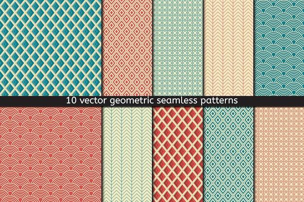 Conjunto de dez padrões sem emenda nas cores azuis e vermelhas, fundo abstrato