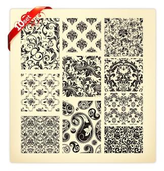 Conjunto de dez padrões, silhuetas negras parte 1