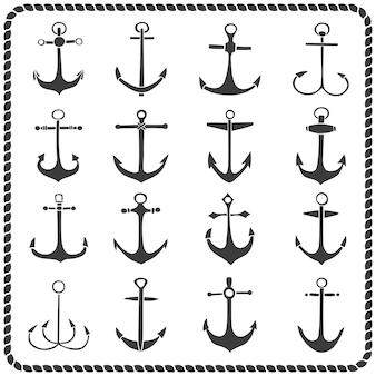 Conjunto de dezesseis âncoras de mão desenhada