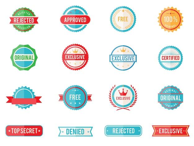 Conjunto de dezesseis emblemas coloridos de vetor e selos em estilo simples, representando negado aprovado