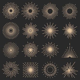 Conjunto de dezesseis raios de luz de linha