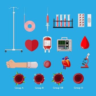 Conjunto de dia de doação de sangue. humano doa sangue