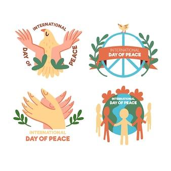 Conjunto de dia de rótulos de paz