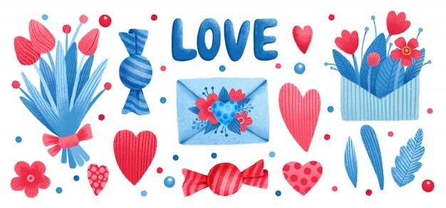Conjunto de dia dos namorados, bombom de flores, coração de amor, folha de árvore
