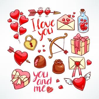 Conjunto de dia dos namorados. coração, presentes, doces. ilustração desenhada à mão