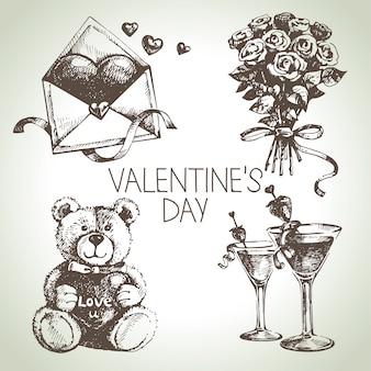 Conjunto de dia dos namorados. ilustrações desenhadas à mão