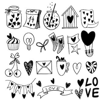 Conjunto de dia dos namorados mão desenhada de doodle bonito clip-art