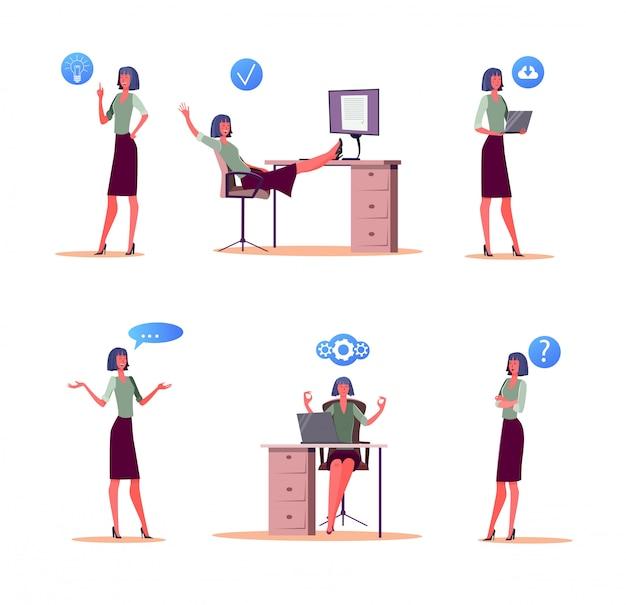 Conjunto de dia útil de trabalhador de escritório