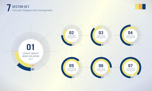 Conjunto de diagrama circular para infográfico