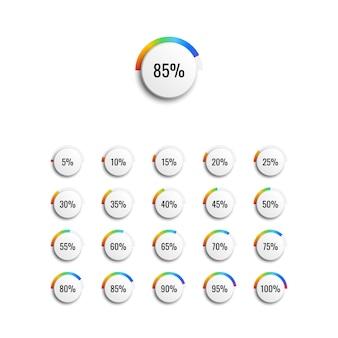Conjunto de diagramas de porcentagem de círculo com indicador de gradiente de arco-íris e etapas de 5%.