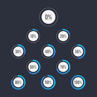 Conjunto de diagramas de porcentagem de círculo para design de infográficos