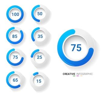 Conjunto de diagramas de porcentagem de círculo para infográficos