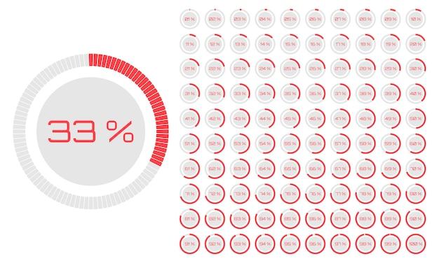Conjunto de diagramas de porcentagem de círculo