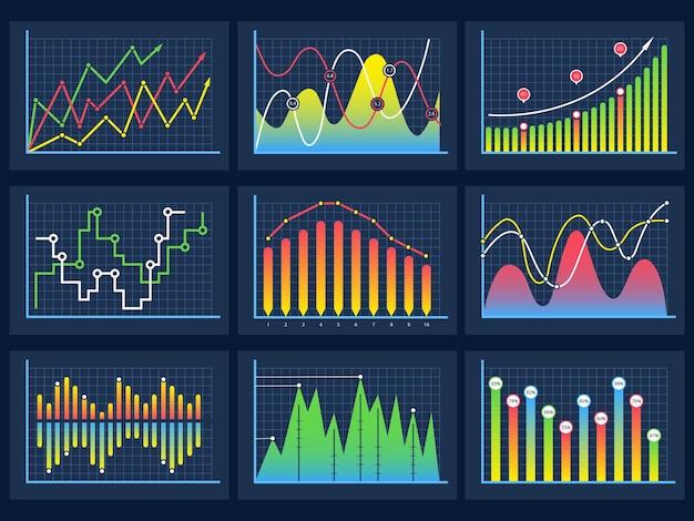 Conjunto de diagramas infográficos modernos