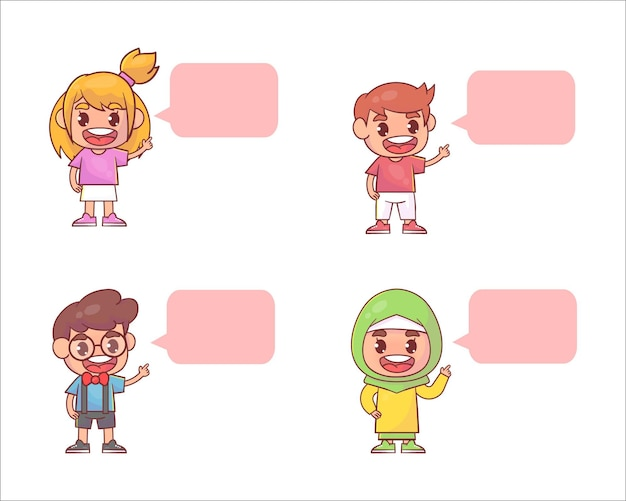 Conjunto de diálogo de balão de menino e menina criança fofa feliz Vetor Premium