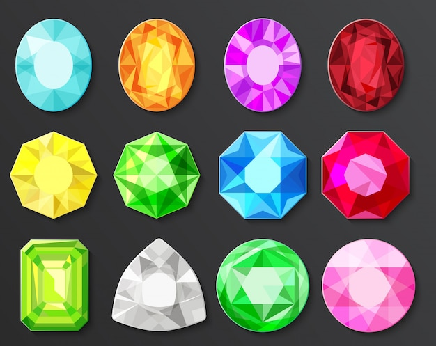 Conjunto de diamantes de gemas coloridas isolado