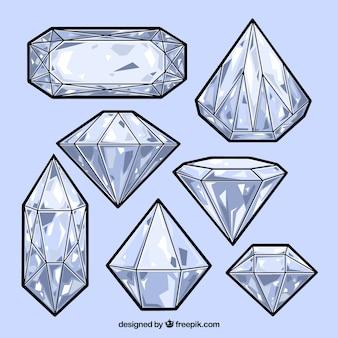 Conjunto de diamantes desenhados à mão